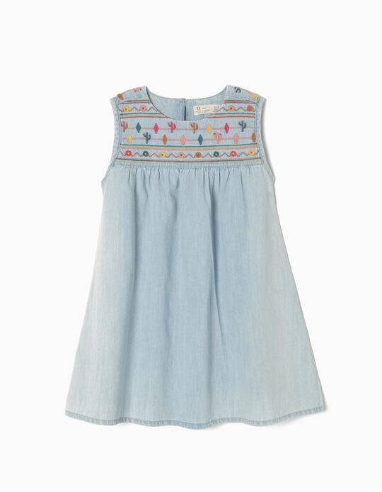 Denim Dress with Colourful Embroideries