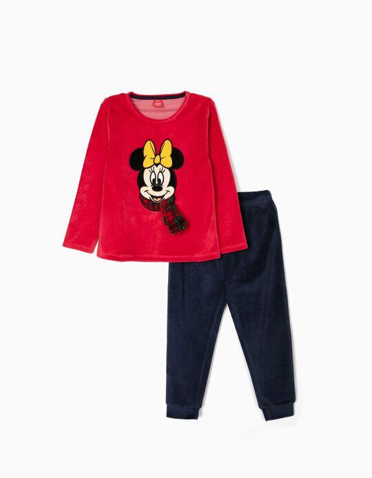 Velvet Pyjamas for Girls 'Minnie Christmas', Red/Dark Blue