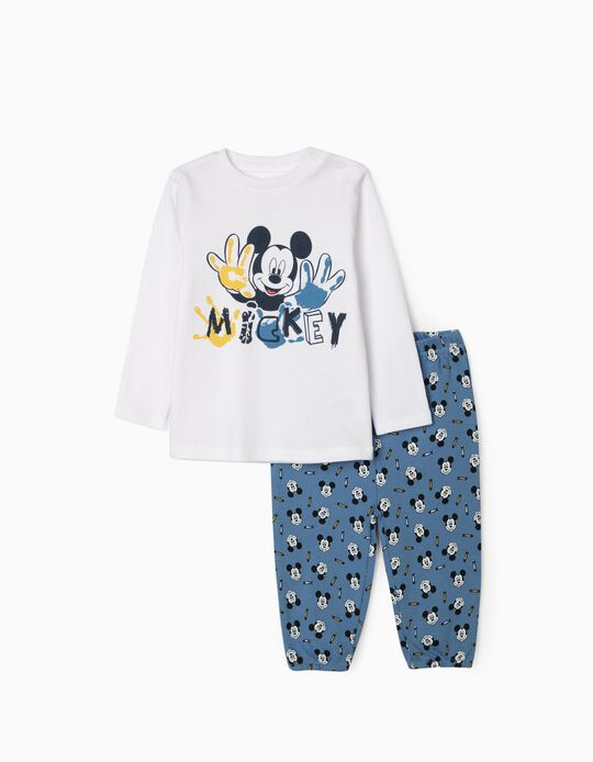 Pyjamas for Baby Boys, 'Hungry Mickey', White/Blue