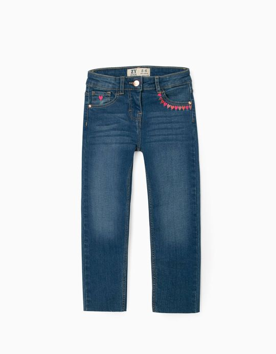 Embroidered Jeans for Girls, Blue