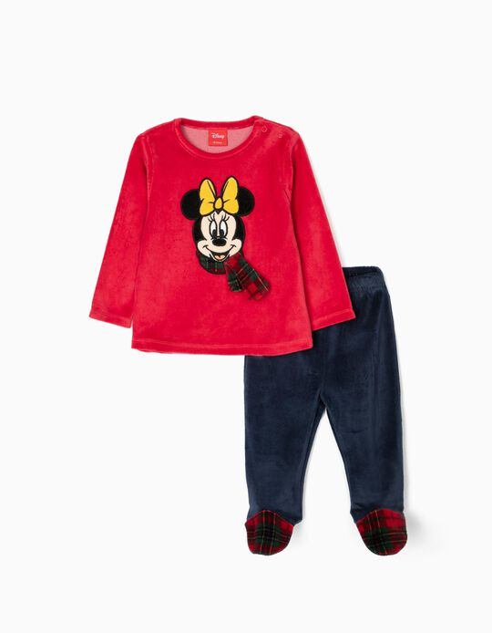 Velvet Pyjamas for Baby Girls 'Minnie', Red/Dark Blue