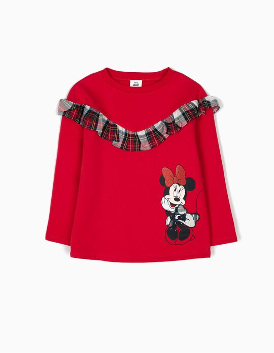 Sweatshirt with Ruffles & Checks, Minnie