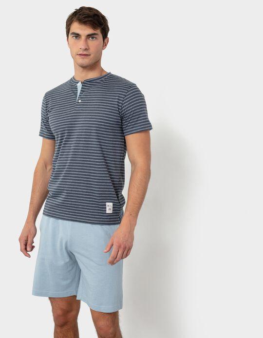 Striped Pyjamas for Men, Blue