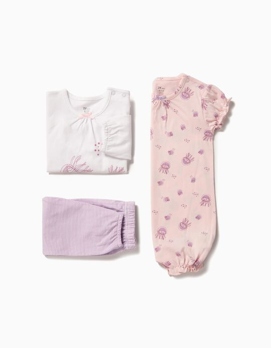 'Jellyfish' Pyjamas and Babygrow for Baby Girls, Pink and White