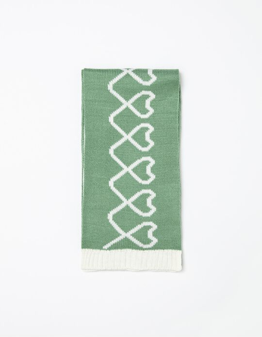Knitted Scarf, Girls, Green