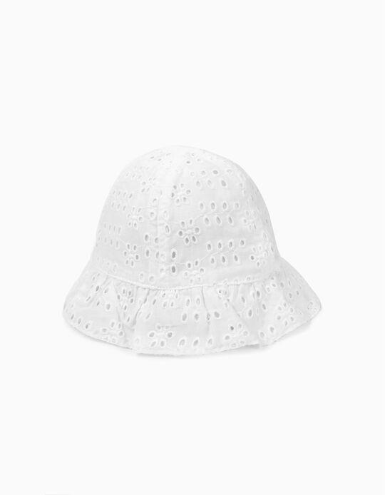 Chapéu para Bebé Menina com Bordado Inglês, Branco