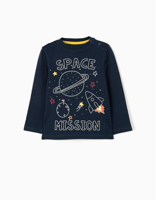 Long Sleeve Top for Baby Boys, 'Space', Dark Blue