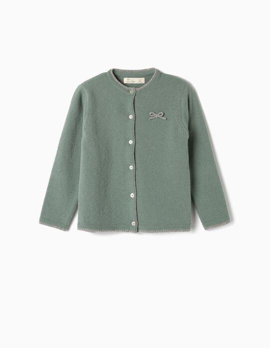 Wool Cardigan for Girls, Green
