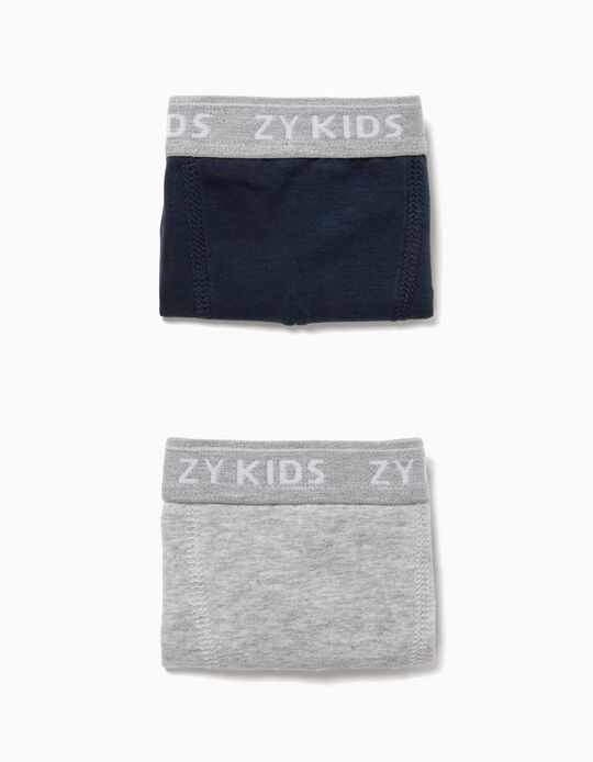 2-Pack Boxers for Boys 'ZY Kids', Grey and Dark Blue