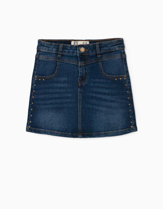 Denim Skirt with Studs for Girls, Blue
