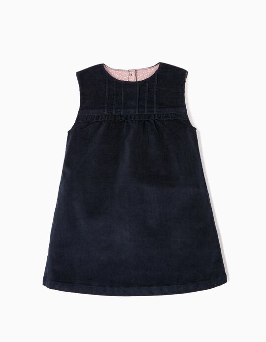 Corduroy Dress for Baby Girls, Dark Blue