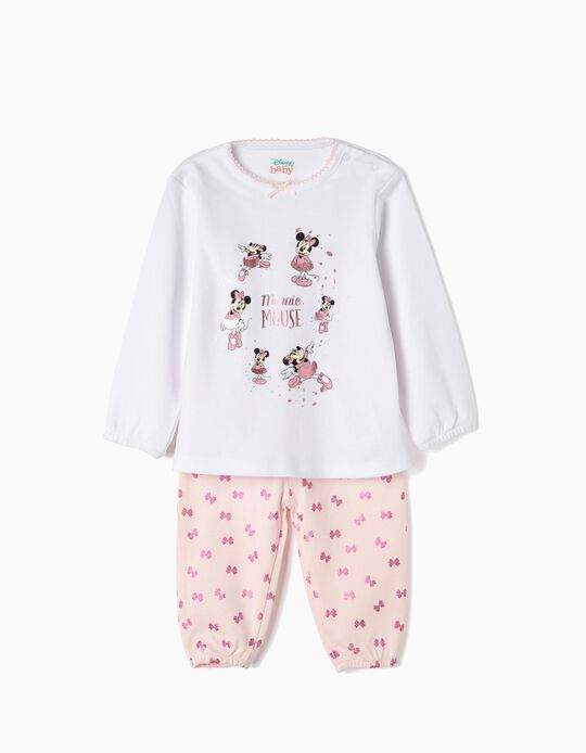Pyjamas for Baby Girls 'Minnie Ballerina', White/Pink