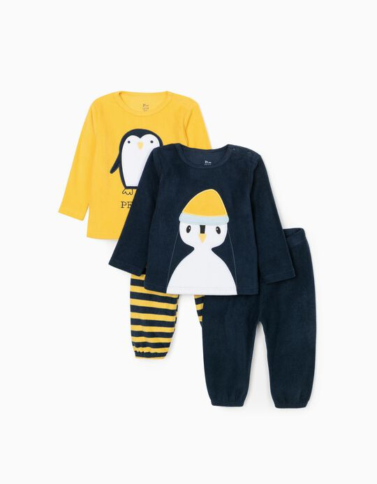 2 Polar Pyjamas for Baby Boys 'Penguin', Dark Blue/Yellow
