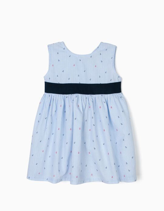 Striped Dress for Baby Girls 'Anchors', Blue