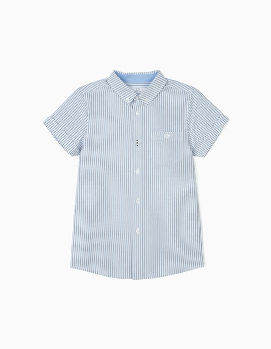Striped Shirt for Boys, Blue and White
