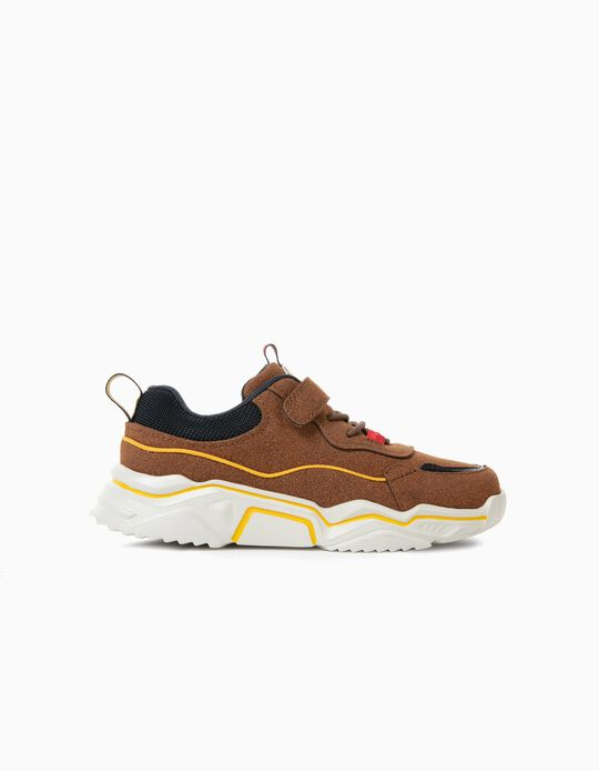 Trainers for Boys in Different Materials 'Kansas', Camel/Dark Blue