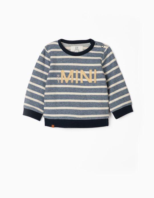 Sweatshirt Riscas para Recém-Nascido 'ZY Mini', Azul/Branco