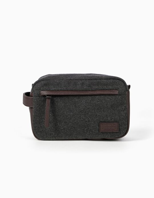 Toiletry bag with pebbled-effect trim