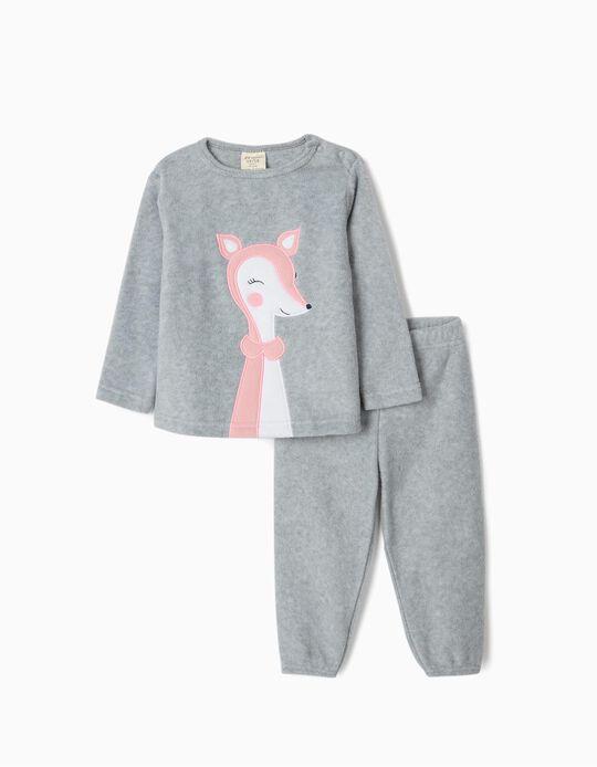Pijama Polar para Bebé Menina 'Cute Deer', Cinza
