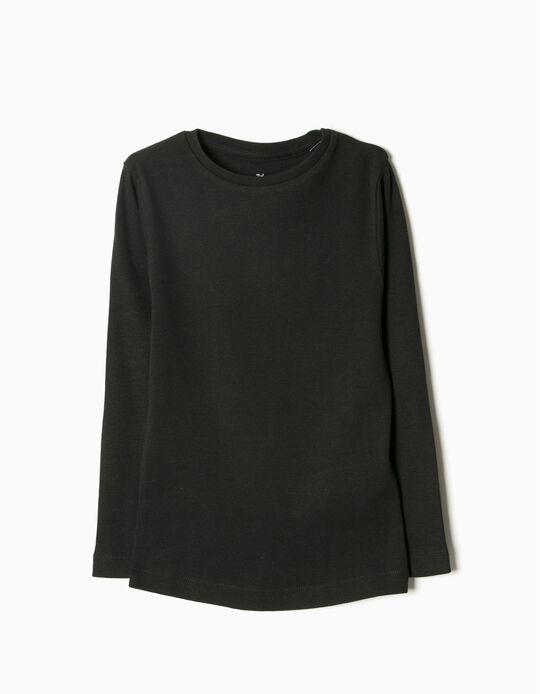 Long-Sleeved Basic Top, Black