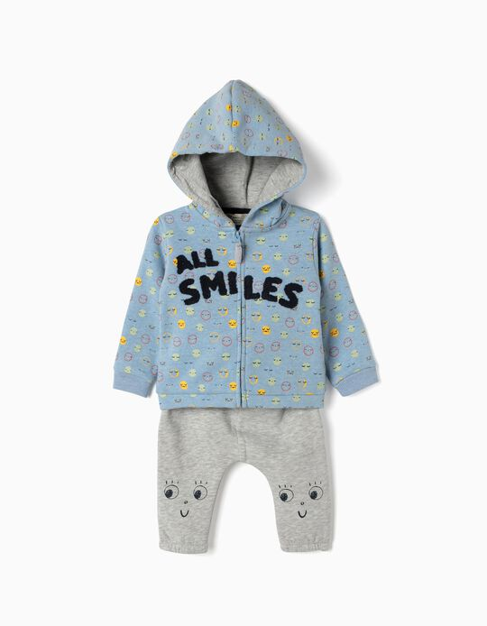 Tracksuit for Newborn 'All Smiles', Blue/Grey