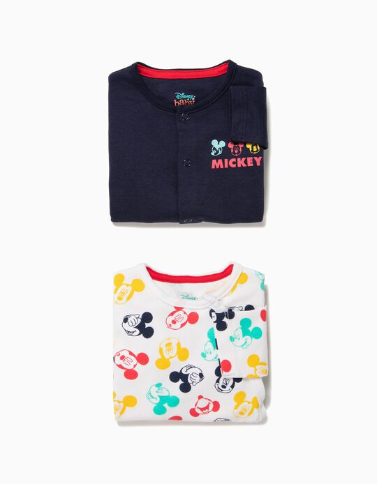 2 Babygrows para Bebé Menino 'Mickey', Branco e Azul