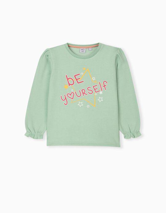 Sweatshirt with Ruffle, Girls, Light Green