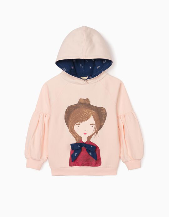 Hooded Sweatshirt for Girls 'Girl with Bow', Light Pink