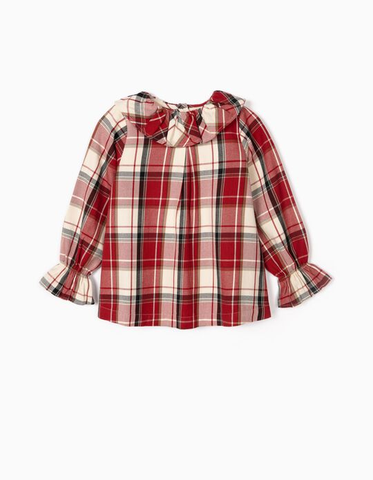 Check Blouse for Girls 'B&S', Red/White