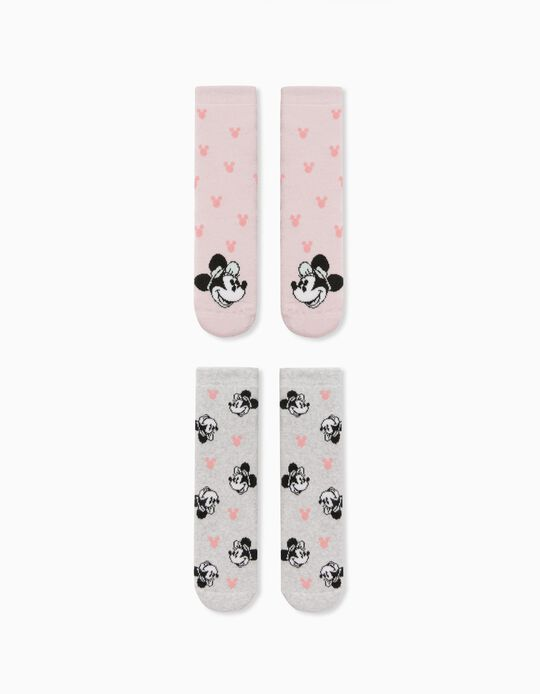 2 Pairs of Non-Slip Socks for Girls, 'Minnie Mouse', Grey/Pink