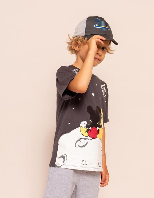 T-shirt for Boys, 'Mickey Mouse & Pluto in Space', Dark Grey