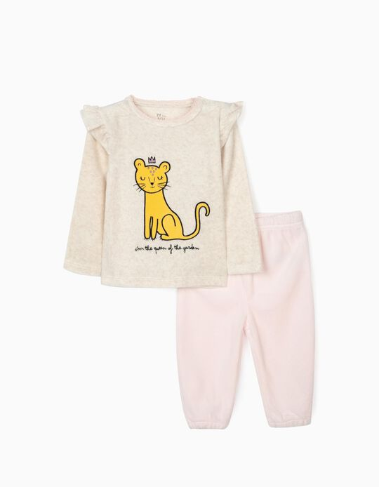 Velour Pyjamas for Baby Girls 'Queen', Beige/Pink