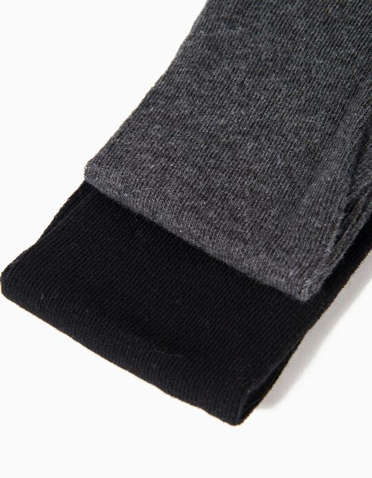 2-Pack Knit Tights for Girls, Dark Grey and Black