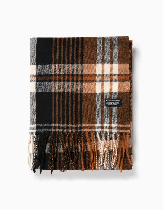 Chequered Scarf with Fringes