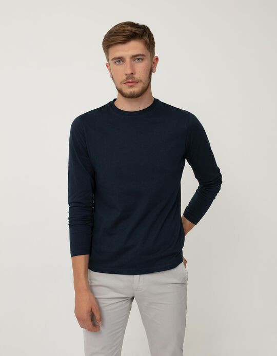 Long Sleeve Top in Organic Cotton, Men, Blue