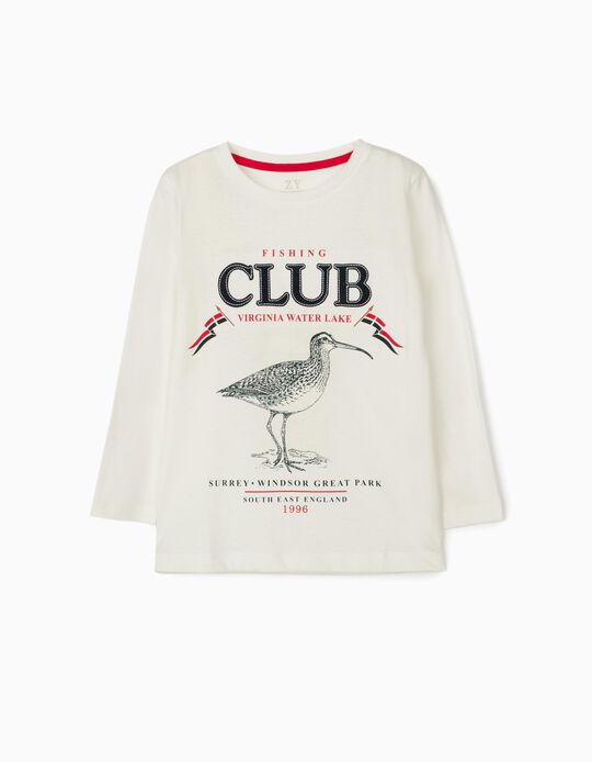 Long Sleeve Top for Boys, 'Fishing Club', White