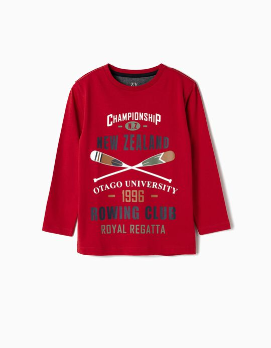 Long-sleeve Top for Boys 'New Zealand', Red