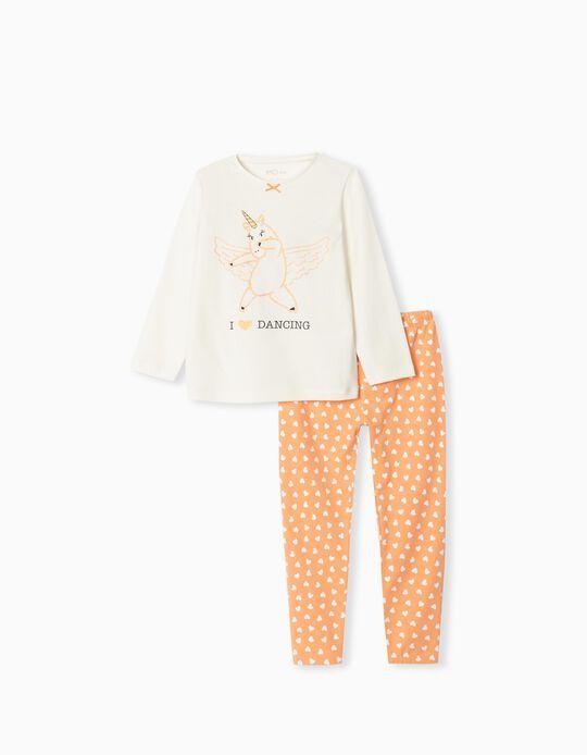 Cotton Pyjamas, Girls, White/ Orange