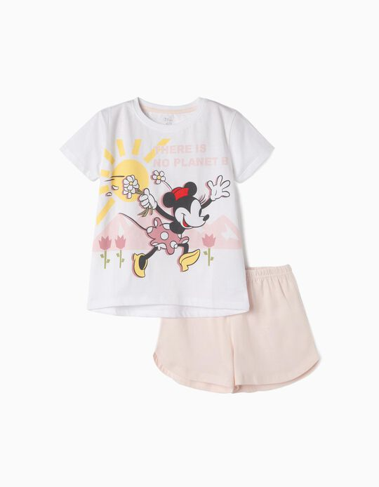 Pijama Algodão Orgânico para Menina 'Minnie Earth Day', Rosa e Branco