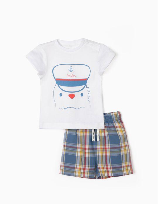 Pijama para Bebé Menino 'Sailor', Branco/Xadrez