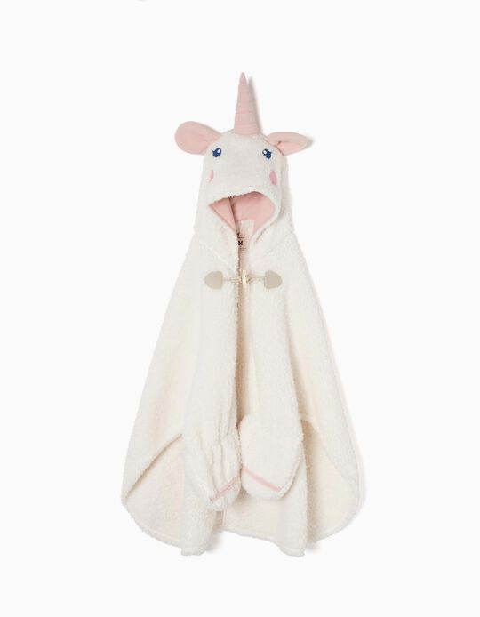 Unicorn' Blanket Dressing Gown with Hood and Mittens for Girls, White