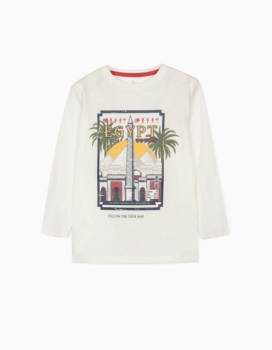 T-shirt Manga Comprida para Menino 'Explore Cairo', Branco