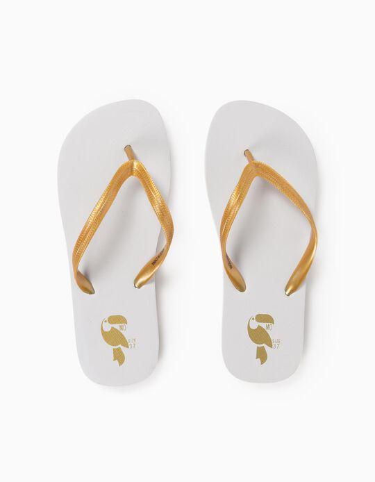 Beach Slip-Ons, Gold Straps