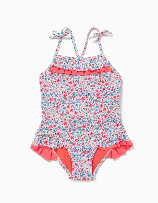 Swimsuit for Girls, UV 80 Protection, 'Flowers', White/Coral