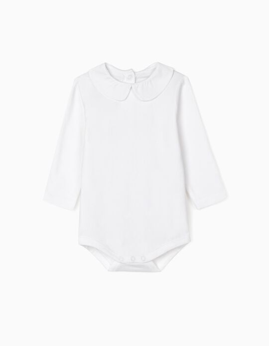 Long-Sleeved Bodysuit for Newborn, White
