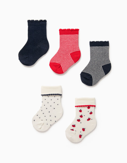 5 Pairs of Socks for Baby Girls, 'Dots & Stripes', White/Red/Blue