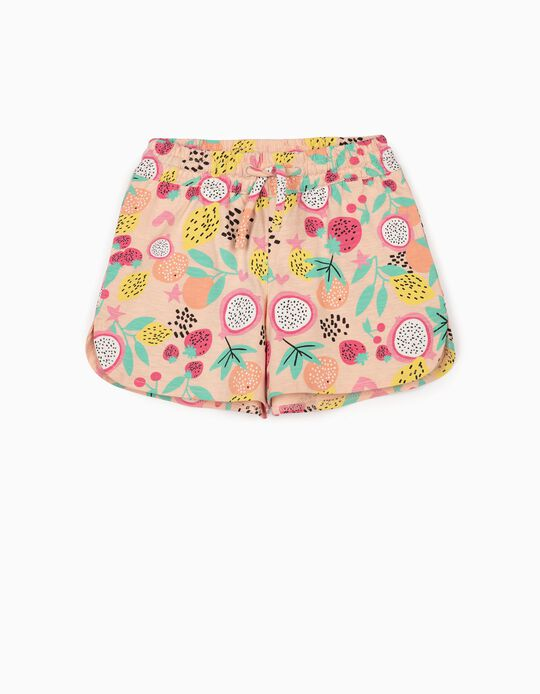 Jersey Shorts for Girls 'Fruits', Salmon