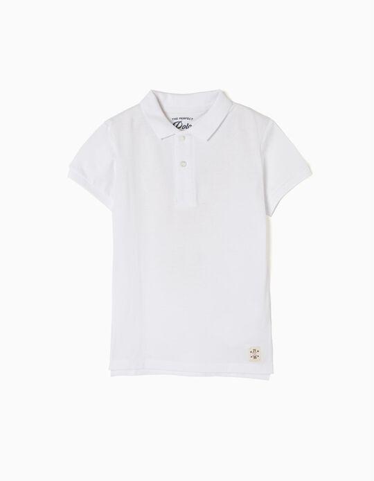 Short-Sleeved Polo Shirt for Boys, White