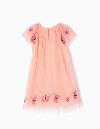 Vestido de Tule Borboletas Rosa
