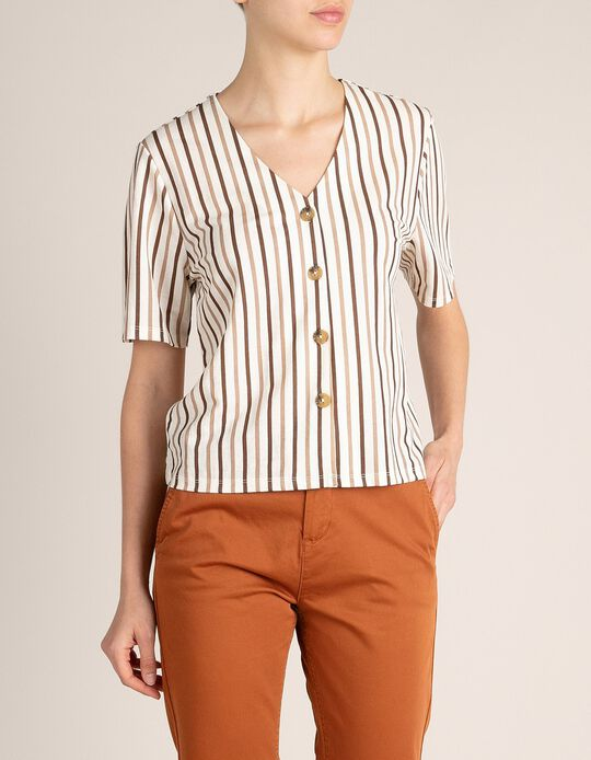 Short Blouse with Stripes